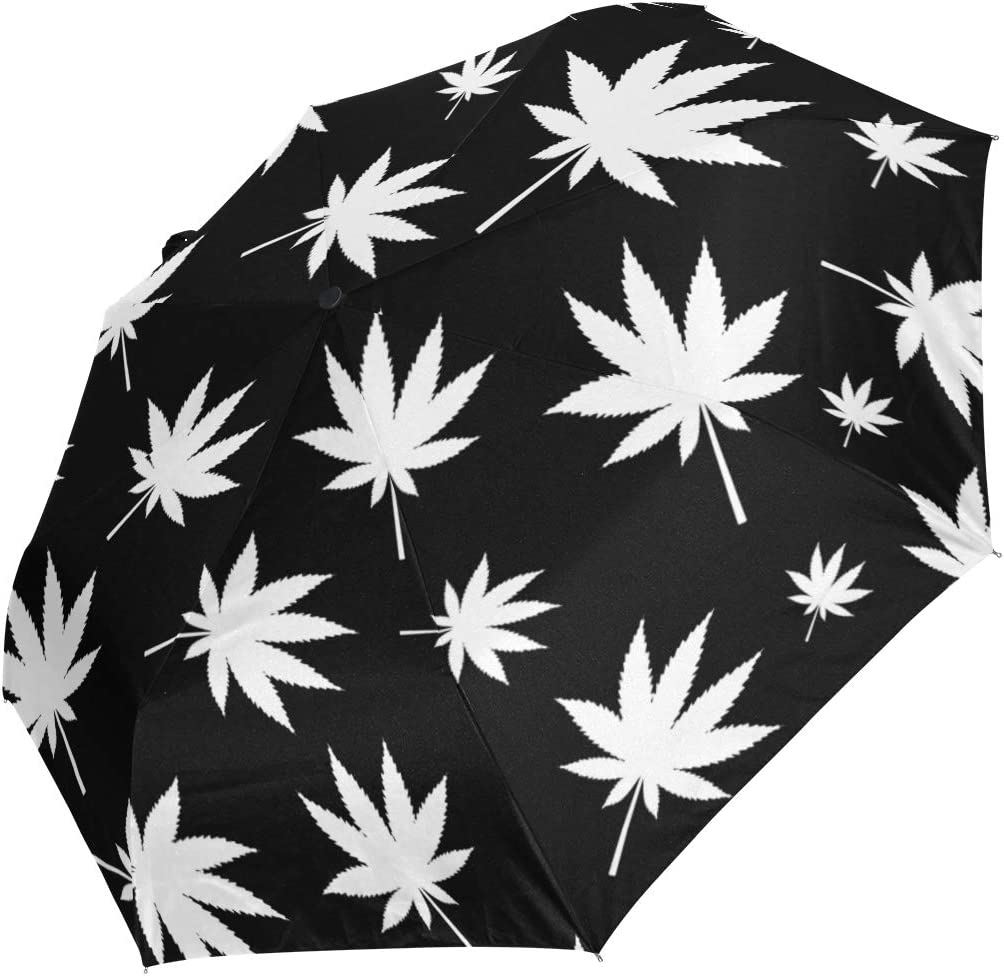 Ahomy Art Paraguas de Viaje de 3 Pliegues Abstracto de Cannabis Blanco con Hojas de Marihuana, Resistente al Viento, antiUV, Paraguas para la Lluvia, Apertura y Cierre automático