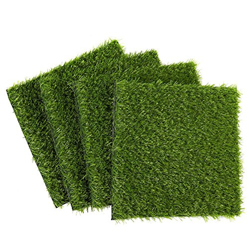 Juvale Synthetic Grass - 4-Pack Artificial Lawn, Fake Grass Patch, Pet Turf for Garden, Pets, Outdoor Decor - Non-Slip Turf, Green, 12 x 0.25x 12 Inches - Artificial Grass Mat