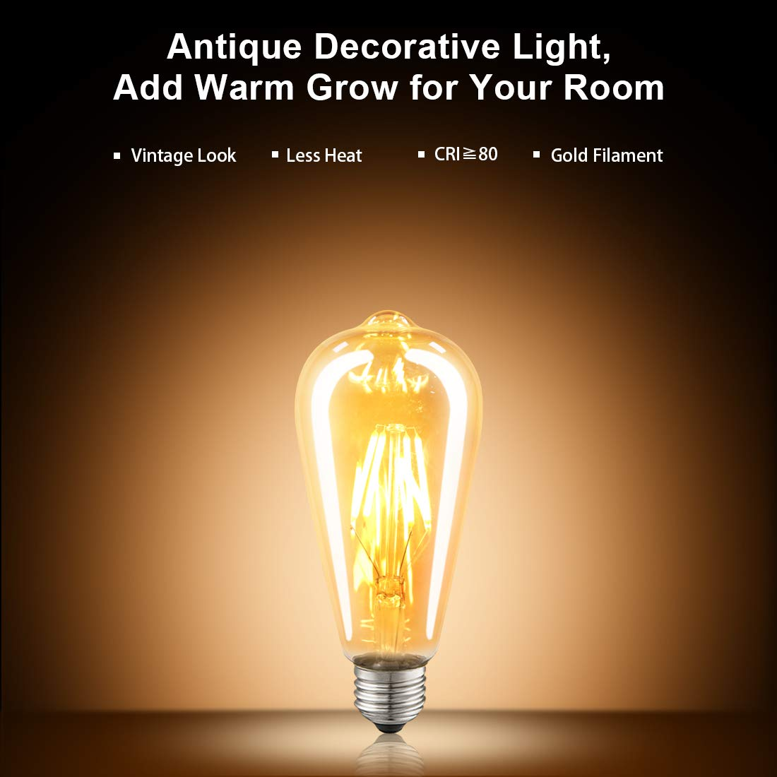 LED Edison Bulb Dimmable Amber Warm 2700K Antique Vintage Style Filament Light Bulbs 40W Equivalent E26 Base 6-Pack by LUXON by LUXON (Image #5)