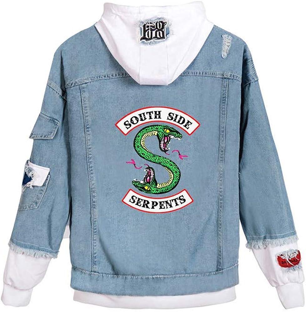 Chaqueta de Mezclilla Riverdale para Mujer Southside Serpents Costura Chaqueta de Bombardero Abrigo con Capucha Chaqueta de Jean para Hombres
