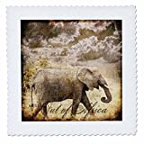 3dRose Andrea Haase Animals Illustration - Elephant mixed media collage out of Africa text - 25x25 inch quilt square (qs_262986_10)
