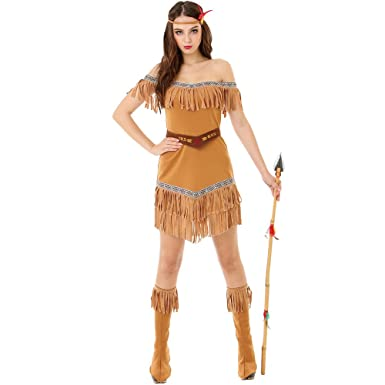 a6b4a07425e Hide Huntress Women s Halloween Costume Tribal Native American Indian  Princess Brown