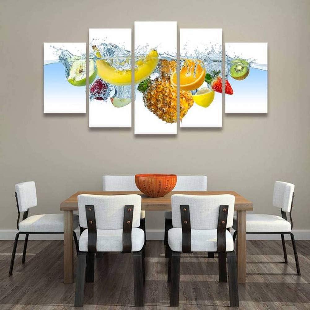 TIANJJss 5 Lienzo Marco De Impresiones y Carteles de 5 Piezas Frutas Verduras Bodegones Cuadros Decorativos Impresiones en Lienzo Comedor Cocina Arte de la Pared Decoración para el hogar