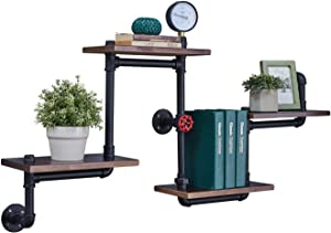 Industrial Floating Pipe Wall Shelves Rustic Wood Shelving 4 Layer Ladder Hanging Bookshelf for Bedroom Office Decor