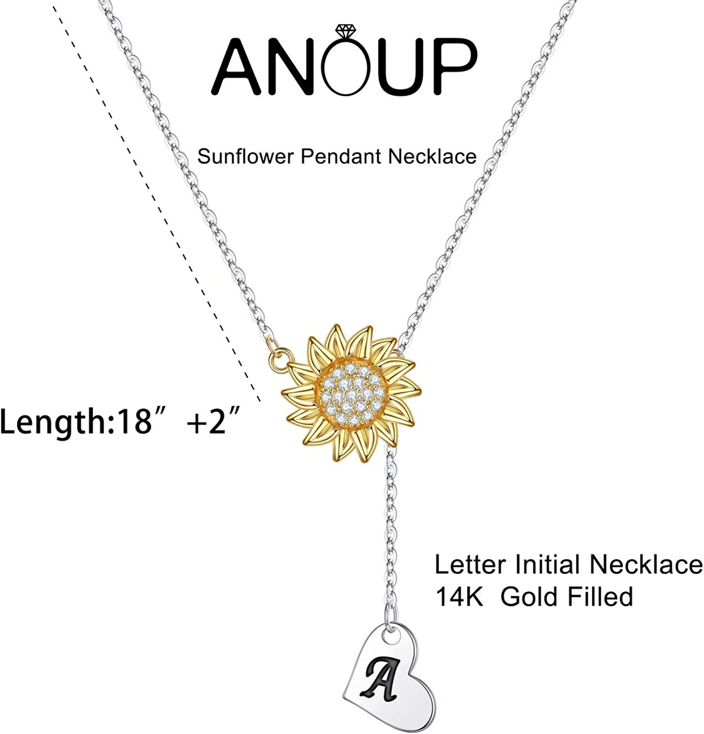 14k Gold Plated Sunflower Necklace Pendant CZ Heart Letter Initial Necklace You are My Sunshine Gifts Sunflower Jewelry for Girls MONOZO Initial Sunflower Necklace for Women Girls