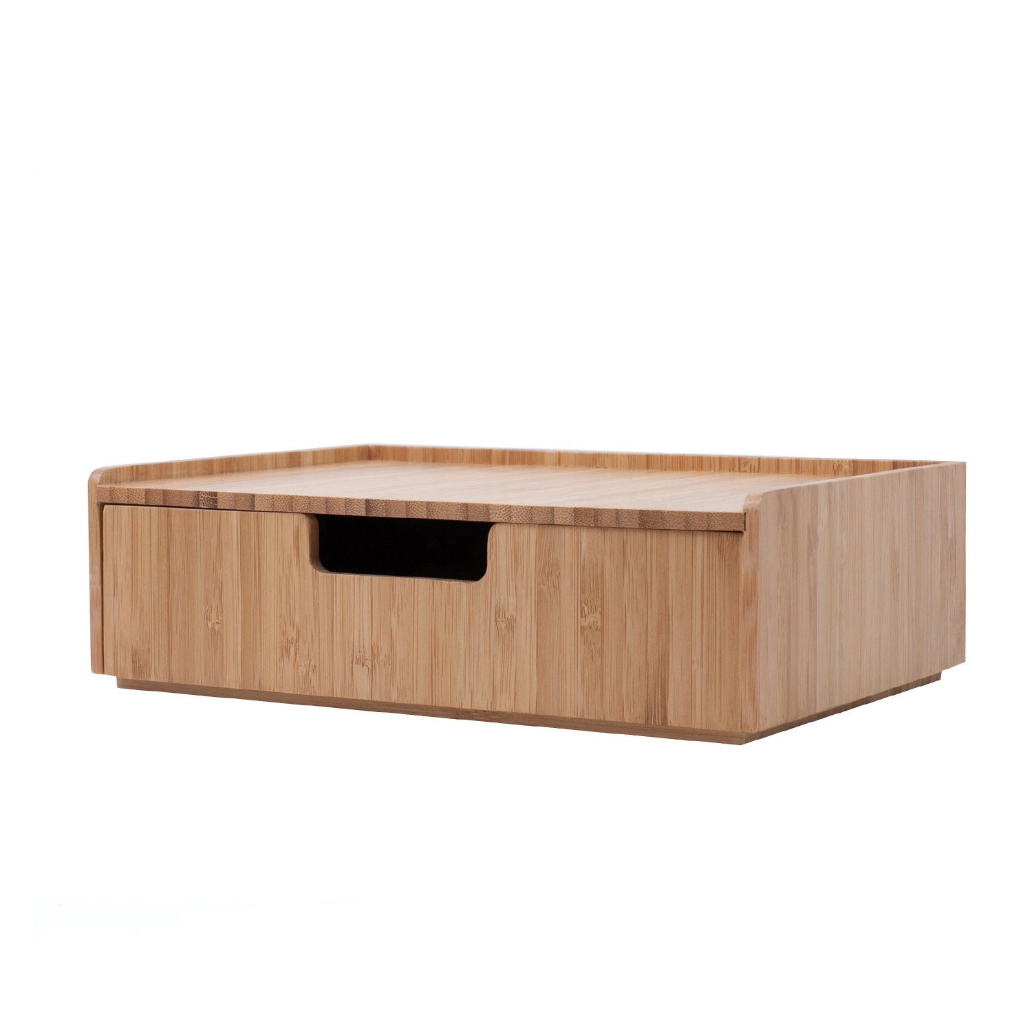 Bamboo Drawer, Stackable Storage Solution for Office Products pens, Pencils, Scissors, notepads, Business Cards and More