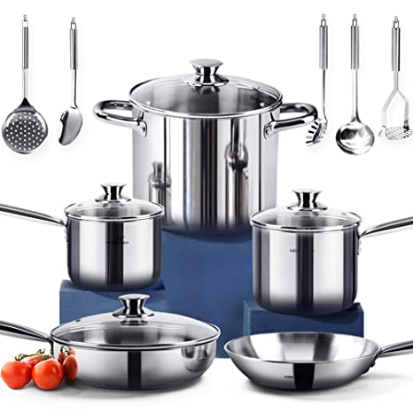 HOMI CHEF 14-Piece Nickel Free Stainless Steel Cookware Set - Nickel Free Stainless Steel Pots and Pans Set - Stainless Steel Non-Toxic Cookware Set - ...