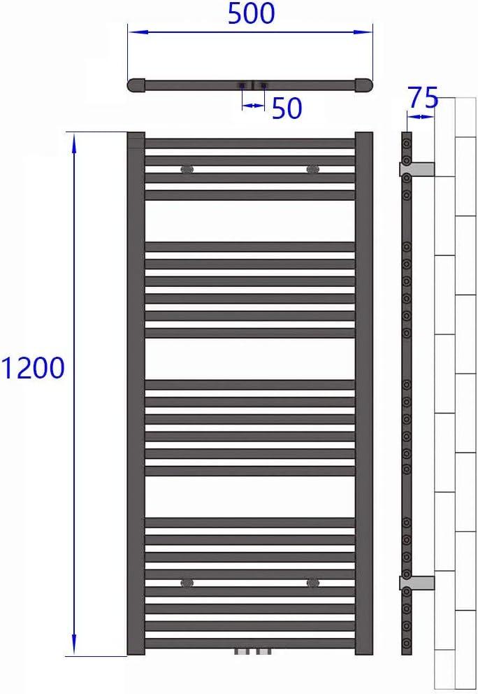 Meykoers Badheizk/örper 1600x600mm Handtuchtrockner Heizk/örper 887 Watt Wei/ß Bad Mittelanschluss Handtuchw/ärmer Heizung Radiator