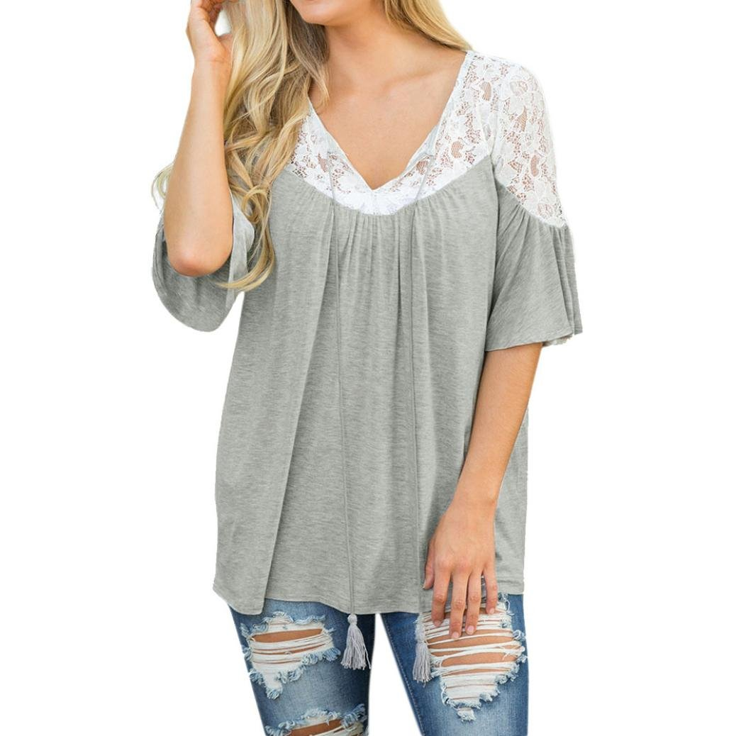 Kim88 Women Blouse Mid-Sleeve Lace Tie Loose O-Neck T-Shirt Tee Tops