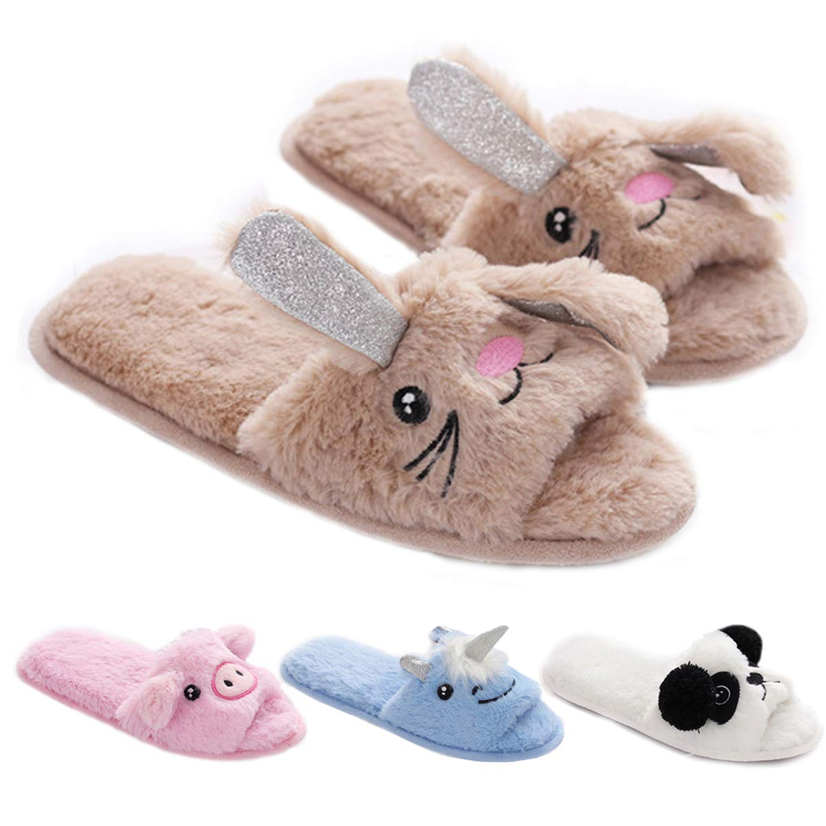 16908c4fa9b94 DeerYou Women Open Toe Slippers, Fleece Memory Foam Unicorn Animal House  Flat Slipper Shoes