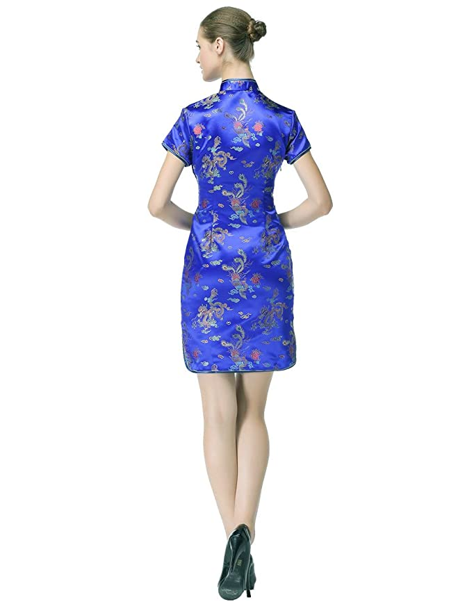 5aea91a7 Amazon.com: Bitablue Women's Royal Blue Chinese Dragon and Phoenix  Knee-length Cheongsam (Large): Clothing