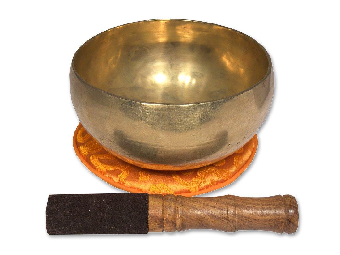 forma de coraz/ón 2112 incluye base naranja con loto y un mazo de madera y piel Cuenco tradicional de Nepal