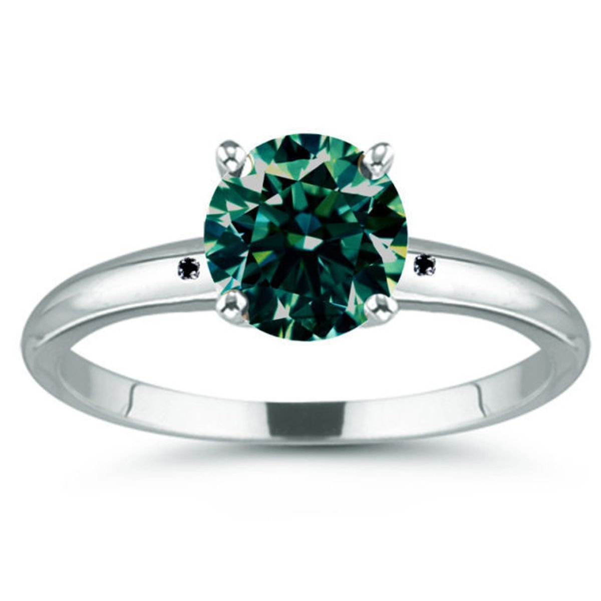 RINGJEWEL 4.38 ct I1 Round Moissanite Solitaire Silver Plated Engagement Ring Blue Green Color Size 7