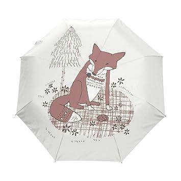 BENNIGIRY Paraguas de Dibujos Animados Fox UV Antiligero Sombrilla Elegante Reverso 3 Plegable Drop Sturdy Paraguas