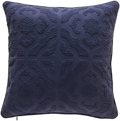 TINA S HOME Geometric Decorative Throw Pillows Down Alternative Insert Cotton Blend Sofa Bed Home Accent Pillows 18×18, Indigo Blue
