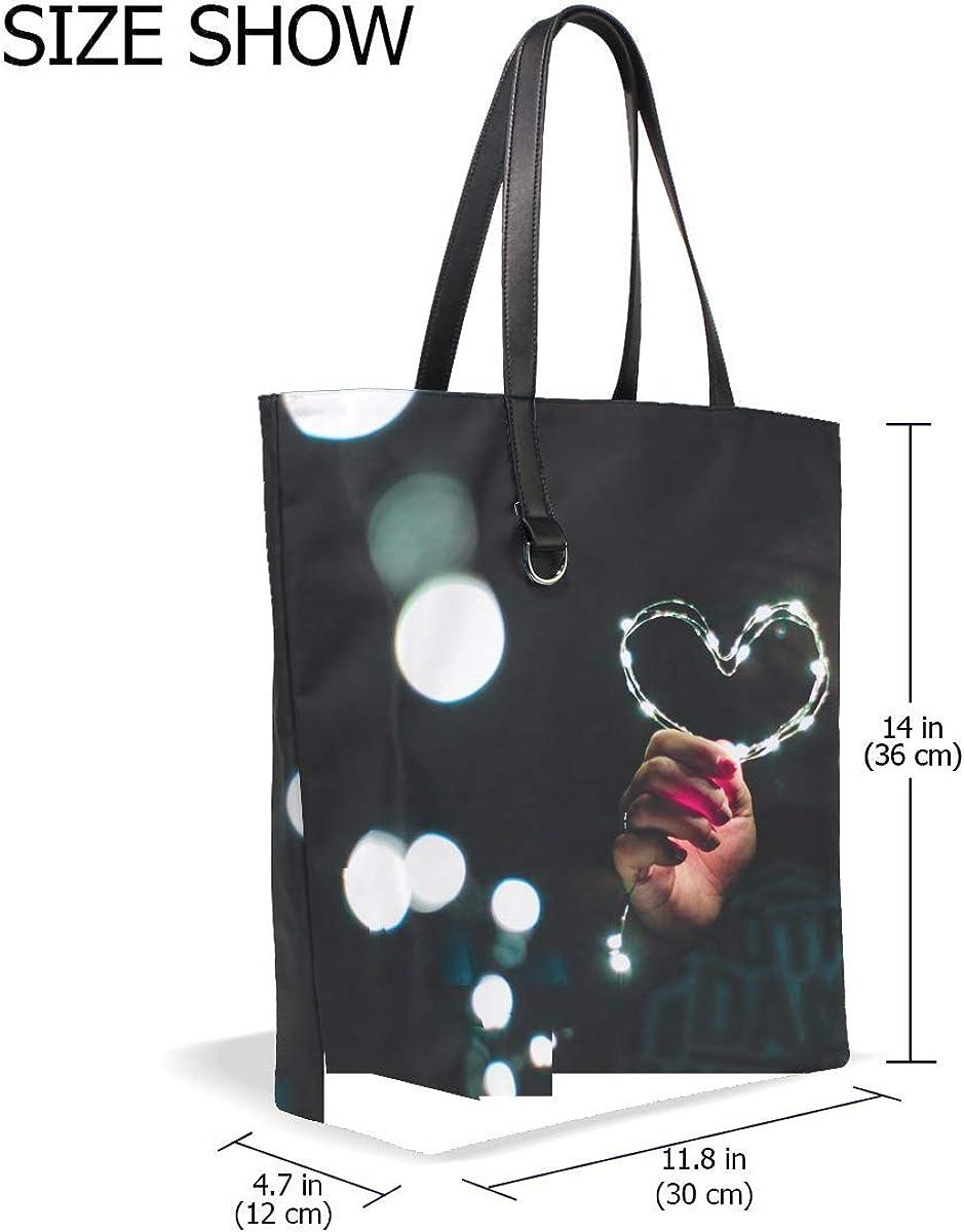 Heart Hand Light Glitter Glare Tote Bag Purse Handbag For Women Girls
