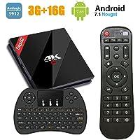 EstgoSZ Android TV Box 4k Ultra HD 3Go+16Go Smart TV Box avec Mini Clavier sans Fil, Android 7.1 Boîtier TV avec Amlogic S912 Octa Core 64 Bits CPU 2.4 GHz/5 GHz WiFi 1000M LAN Bluetooth 4.1 H.265 3D