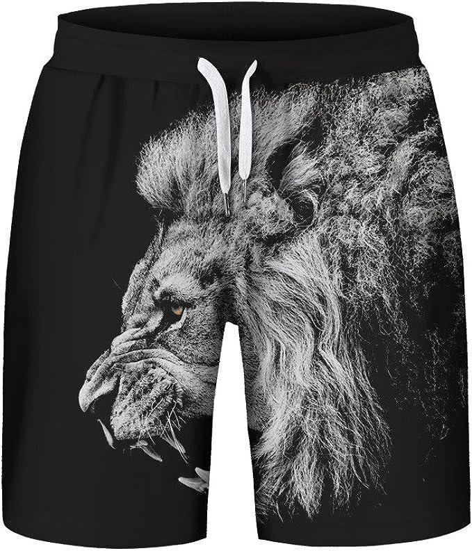 MVPKK Pantalones Cortos de Algodón Hombre Pantalones Cortos León ...