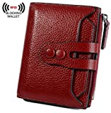 YALUXE Women's RFID Blocking Small Compact Leather Wallet Ladies Mini Purse with ID Window Red