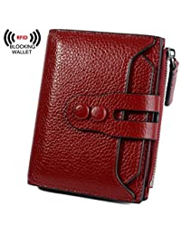 BIG SALE-30% OFF Yaluxe Women's RFID Blocking Security Leather Small Billfold Wallet Pebbled Red