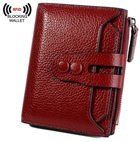 YALUXE Women's RFID Blocking Small Compact Leather Wallet Ladies Mini Purse with ID Window Red by YALUXE