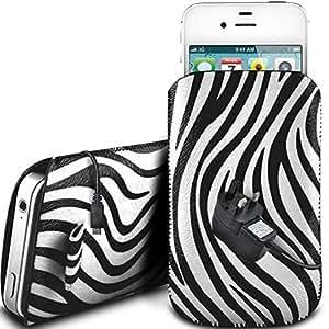 Direct-2-Your-Door - Apple Iphone 4S protectora de cuero PU Zebra Diseño deslizamiento lengüeta de tracción del cable en caso de la bolsa con cierre rápido y la red de CE Cargador - Blanco