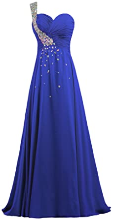 ANTS Womens Crystal Chiffon One Shoulder Prom Dress Long Evening Gown Size 2 US Royal Blue