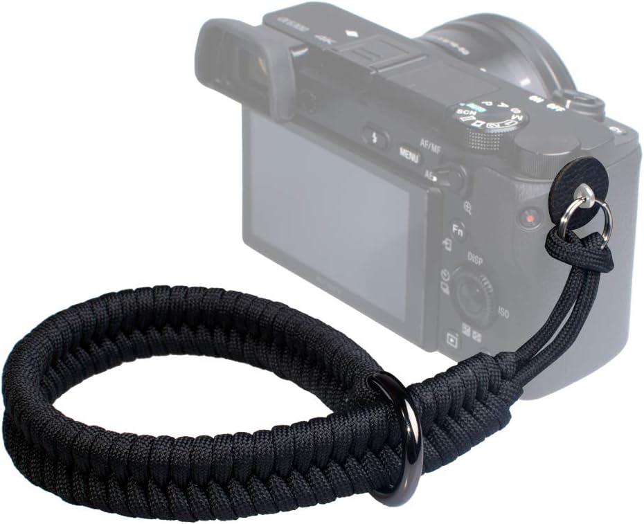 VKO Camera Wrist Strap Adjustable Camera Lanyard Wrist, Compatible with Nikon/Canon/Sony/Panasonic/Fujifilm/Olympus DSLR SLR or Mirrorless Cameras Hand Strap Black