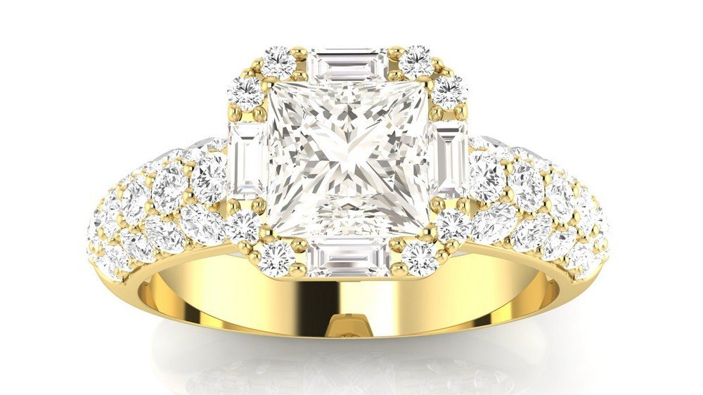 1.4 Carat t.w. 14K Yellow Gold Princess Designer Popular Halo Style Baguette and Pave Set Round Diamond Engagement Ring J/VS2 Clarity Center Stones. by Houston Diamond District