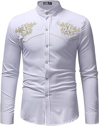 Camisa Negra Bordada Floral para Hombre con Cuello de ...