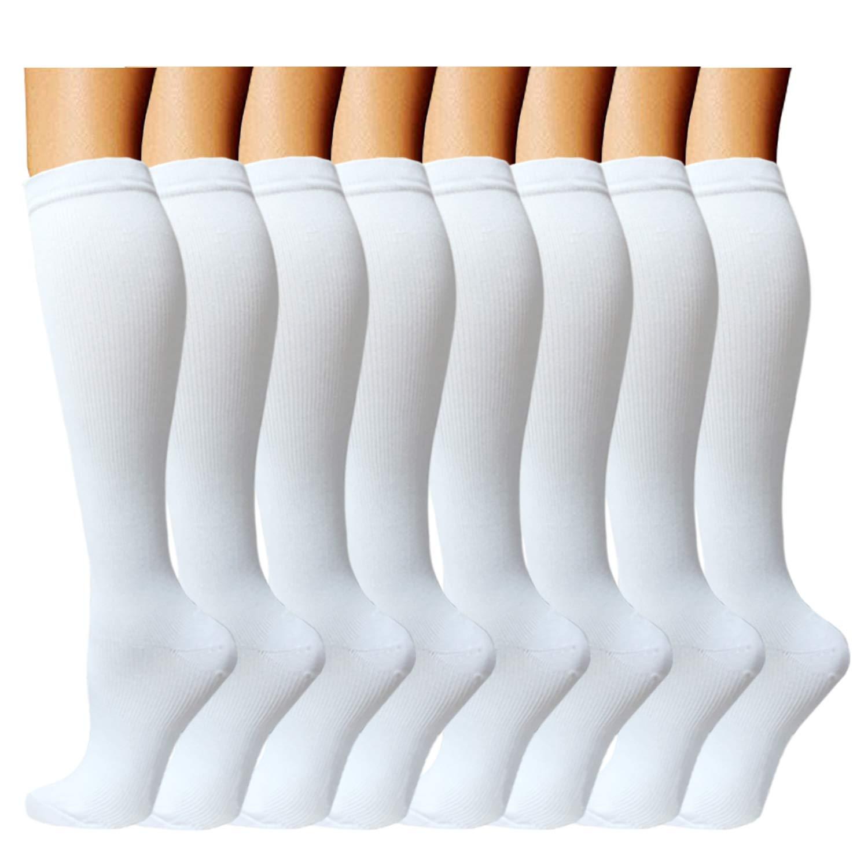 ACTINPUT 8 Pairs Compression Socks Women & Men -Best Medical,Nursing,Travel & Flight Socks-Running & Fitness,Pregnancy -15-20mmHg (L/XL, White)