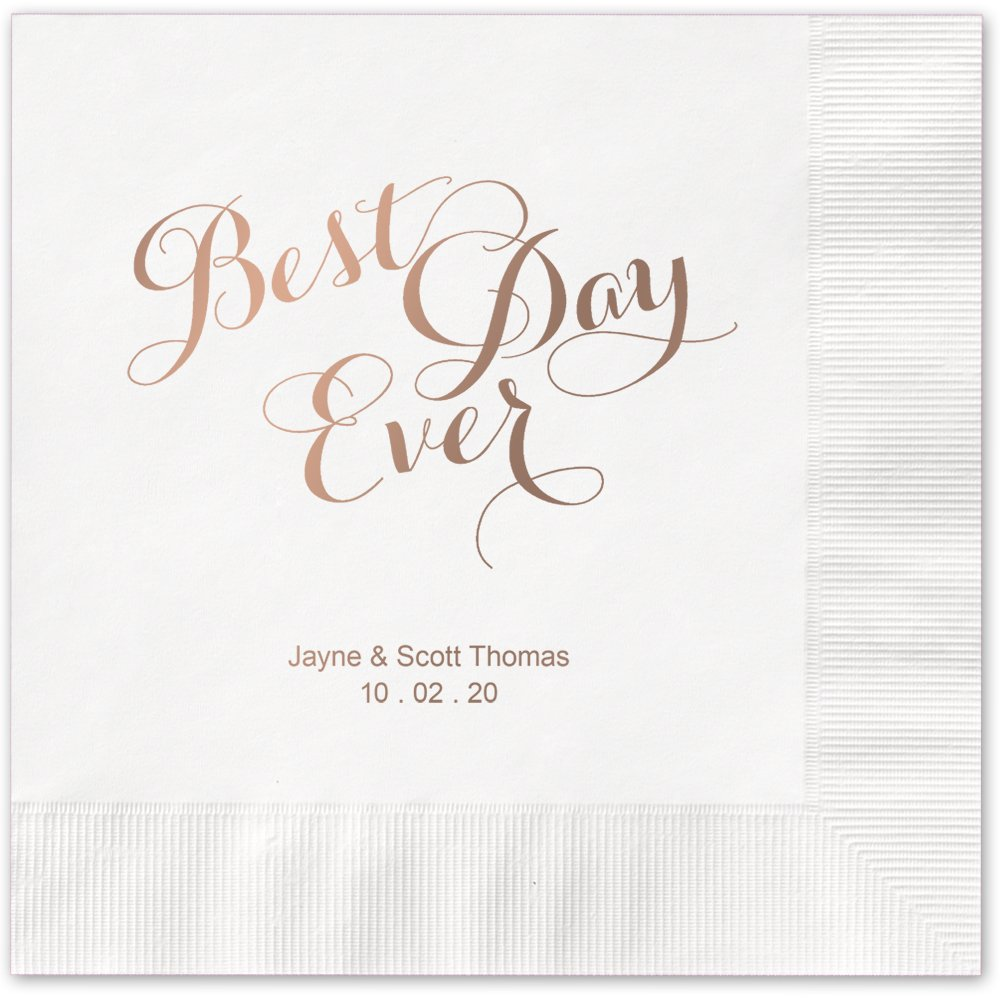 Best Day Ever Personalized Beverage Cocktail Napkins - Canopy Street - 100 Custom Printed White Paper Napkins with choice of foil stamp