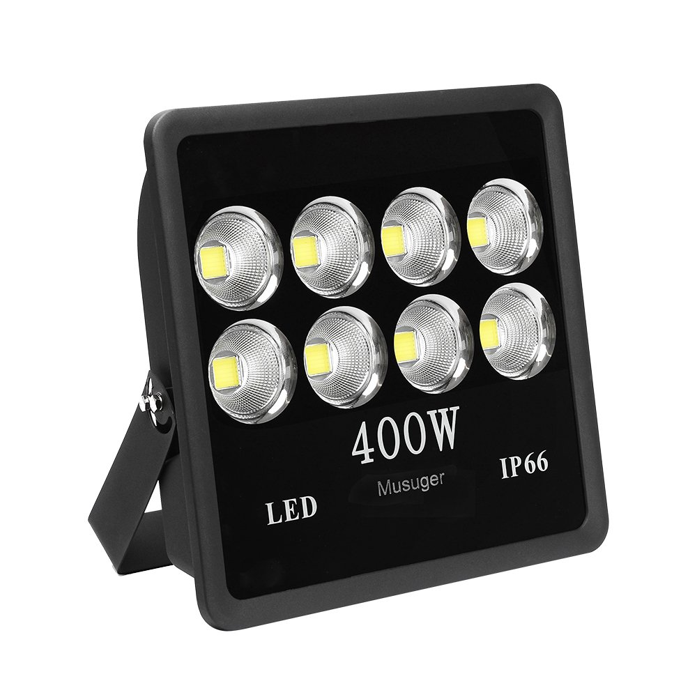 Musuger 400 watt Super Bright Outdoor High Power LED Flood Light with Fixture Daylight White 6000K Waterproof 85V-265V AC