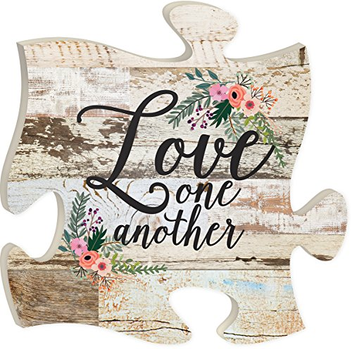 P. Graham Dunn Love One Another Crackled Paint 12 x 12 Wood Wall Art Puzzle Piece Plaque ()