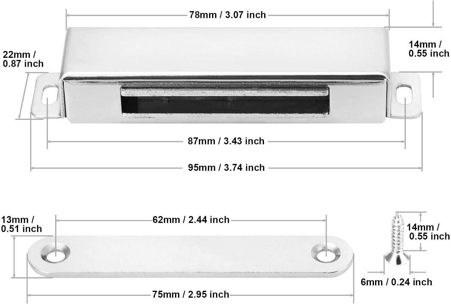 304 Edelstahl T/ürmagnet f/ür Heimm/öbel Magnetschn/äpper 2 St/ück Schrankmagnete onehous 27 kg ziehen Magnetischer T/ürriegel mit 8 Schrauben K/üche Kleiderschrank