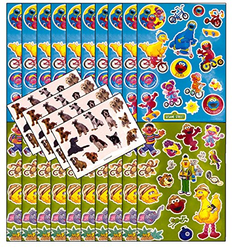 Sesame Street Stickers - 20 Sheets of Large Sesame St Stickers bundled with 30 Mini Sheets of Small Adorable Dog - Cadabby Mini Abby
