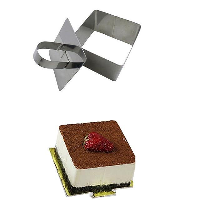 Amazon.com: eDealMax acero inoxidable DIY Pequeño Mousse Anillo Lamy pastel de queso del molde herramienta de moldeo de Alimentos (Square): Kitchen & Dining