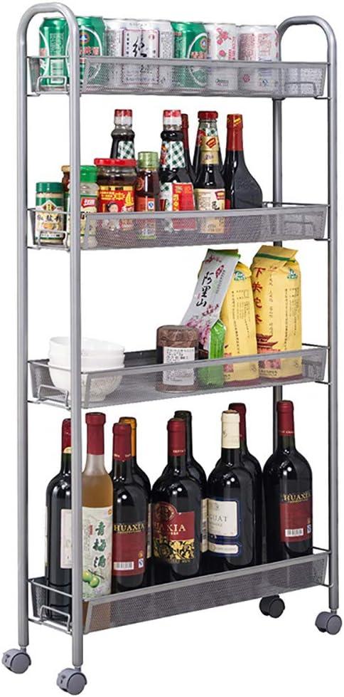 SINGAYE 4 Tier Slim Rolling Cart Kitchen Storage Organizer Mesh Wire Storage Carts with Lockable Wheels Silver