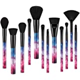 Galaxy Stars Makeup Brush Set,Docolor 12 Pcs Professional Makeup Brushes Premium Synthetic Kabuki Cosmetics Foundation Blending Blush Eyeshadow Eyebrow Face Powder Fan Brush Kit