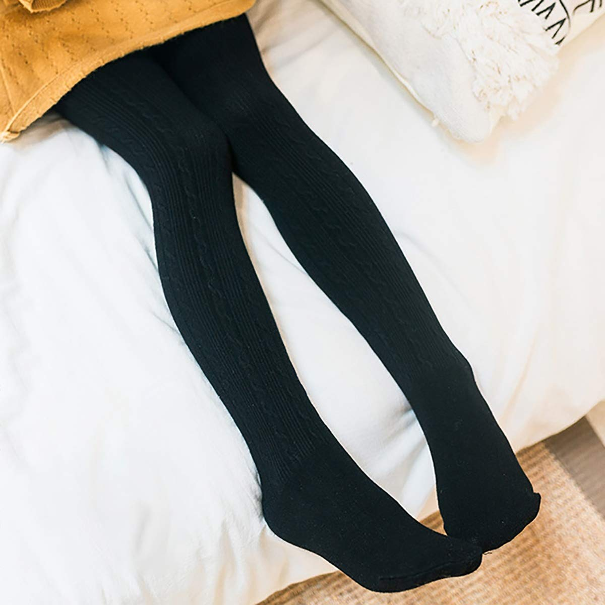 3//5PCS Stretch Knit Girl Tights,Multicolour Fashion Full Length Footed Kid Toddler Tight Legging Pantyhose