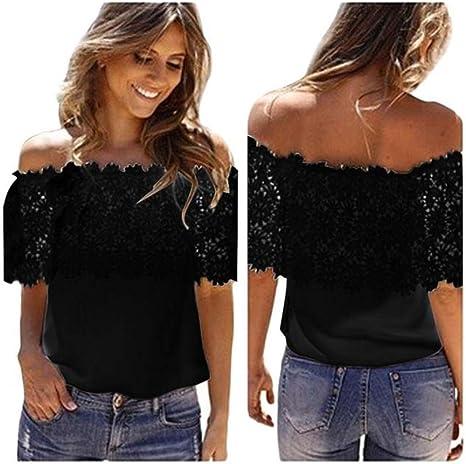 Yusealia Tops Mujer Fiesta, Blusa Sexy Mujer de Verano Blusa de Mangas Corta de Camisa de Gasa de Encaje de Croché Sexy De Moda Camisetas Mujer Camisas Fiesta Camiseta Tops Blusa: Amazon.es: