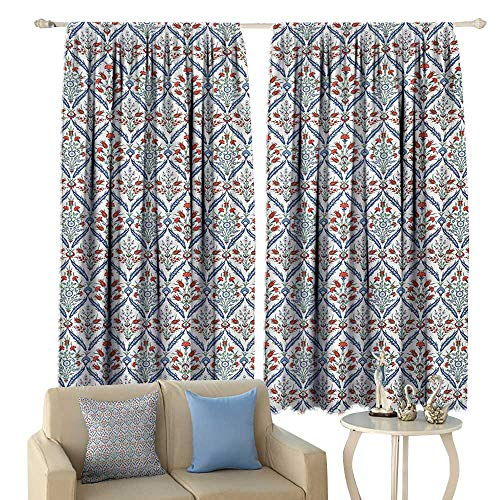 - crabee Blackout Curtains Ottoman Turkish Traditional Ceramic Tulip Patterns with Cultural Ottoman Royal Lines Design Privacy Protection Multi