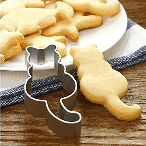 HENGSONG Silver Stainless Steel Cute Cat Cake Cookie Cutter Mould Baking Biscuit Moulds Cake Decorating Tools