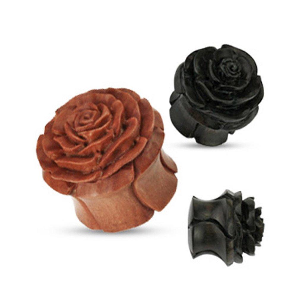 West Coast Jewelry Organic Wood Full Bloom Rosebud Hand Carved Double Flared Plug (Sold Individually) WCJ-PSM061-0-K