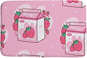 Kuizee Bath Mat Small Area Rug Carpet Doormat Floor Rug Bathroom Rug Carton of Strawberry Milk Kawaii Anime Cartoon Pink Coral Fleece Non-Slip Water Absorption Home Decor 23.6×15.7 Inch