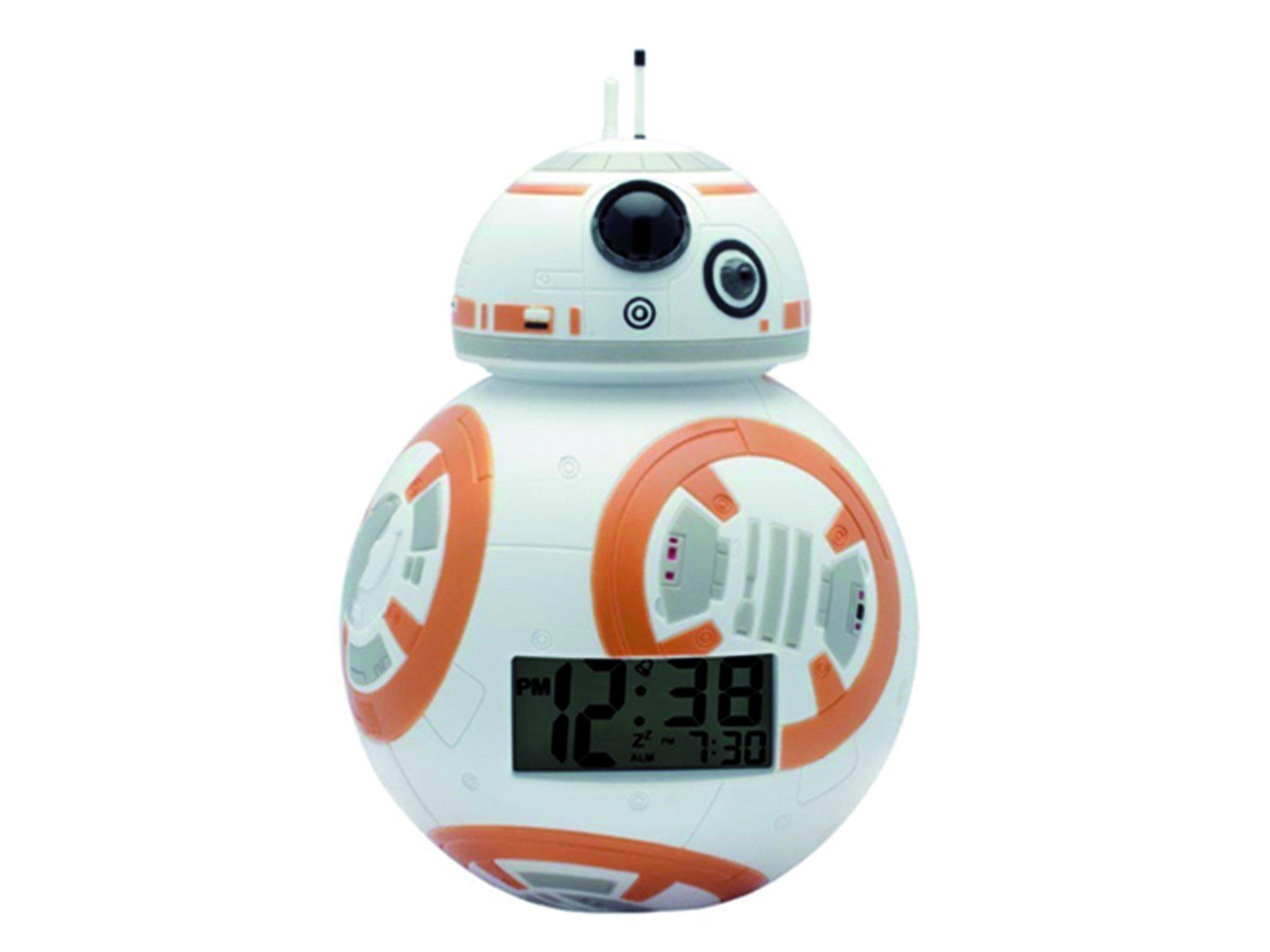 BulbBotz Star Wars BB-8 Kids Light up Alarm Clock   White/Orange   Plastic   3.5 inches Tall   LCD Display   boy Girl   Official