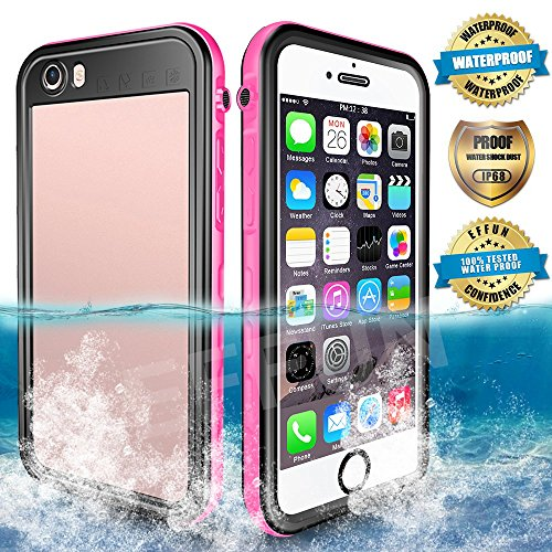 EFFUN Waterproof iPhone 6 Plus/6s Plus Case, IP68 Certified Waterproof Underwater Cover Dirtproof Snowproof Shockproof Case with Cell Phone Holder, PH Test Paper, Stylus Pen and Floating Strap Pink