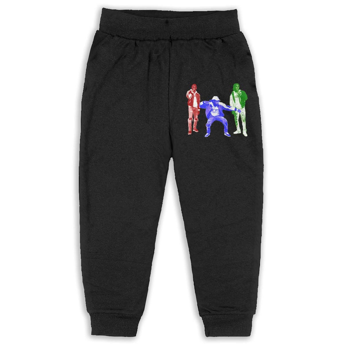 Trisharosew Kids Migos Music Band Boys Girls Sweatpants Stretch Jogger Pants Back Pocket Black