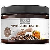 Arabica Coffee Scrub 15 oz, Anjou Body Scrub with Honey, Sea Salt, VB, VE (Natural Exfoliator, Cellulite Treatment, Skin Moisturizer, Tan Remover)