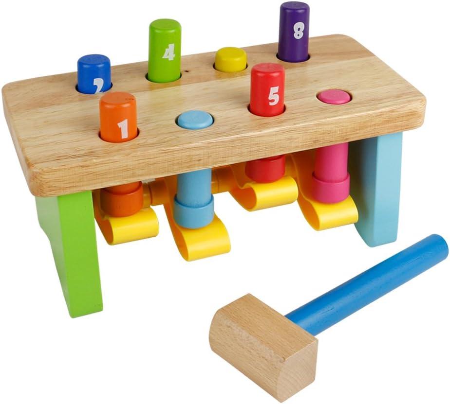 Martillo Juguete Madera Banco de Herramientas Juguete Ocho Colors Clavijas Juego del Número para Niño de 18 Meses